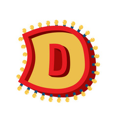 Letter d lamp glowing font vintage light bulb vector