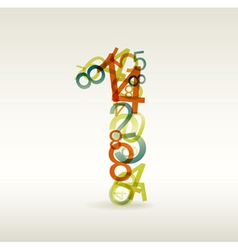 number one made from colorful numbers vector image