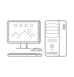 Personal computer line art simple gadget icon vector