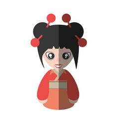Portrait woman asian clothes shadow vector