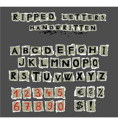 Ripped letters handwritten vector