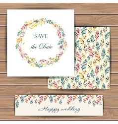 Save the date card with feather vector