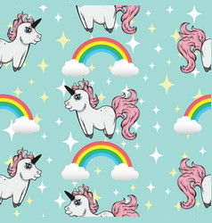 Seamless pattern unicorns and rainbows vector