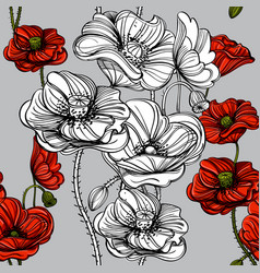 seamless pattern with red poppies hand-drawn vector image