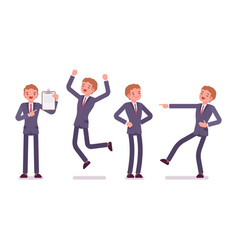 set of businessman showing positive emotions vector image vector image