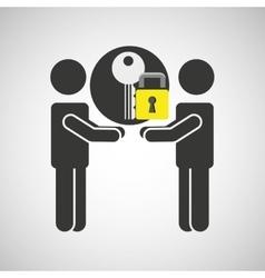 Silhouette men key internet safety vector