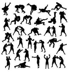 Silhouette sports boxing and wrestling vector