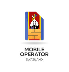 Swaziland mobile operator sim card with flag vector