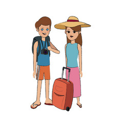 Traveling couple with suitcase icon image vector