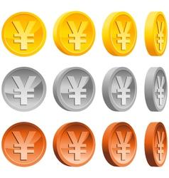 yen coins vector image