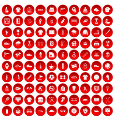 100 sport club icons set red vector