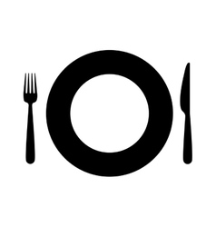 Black silhouette plate and pieces of cutlery vector