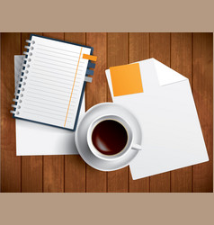 Coffee notebook and paper on wooden table vector