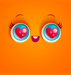kawaii face with eyes vector image