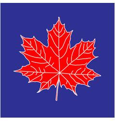 Maple leaf on blue backdrop vector