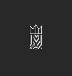 Ua letters logo monogram and crown symbol vector