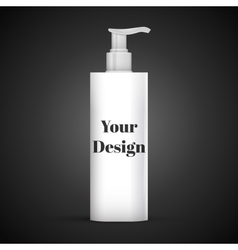 Plastic clean white bottle with dispenser pump vector