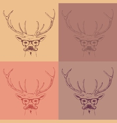 deer head hipster style with glasses and mustache vector image