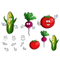Fresh healthy happy cartoon vegetables vector