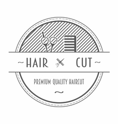 Barber shop emblem or label vector