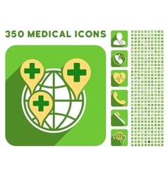Global clinic company icon and medical longshadow vector