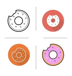 Donuts flat design linear and color icons set vector