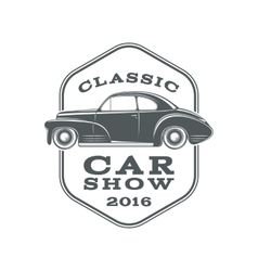 Classic car show label template vector image