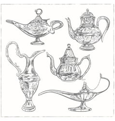Set of magic arabic lamp holy month for muslim vector