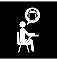 Pictogram icon audiobooks design graphic vector