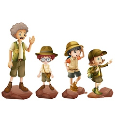 A family of explorers vector