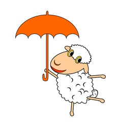 A funny cartoon sheep with an umbrella vector image vector image