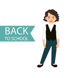 Back to school little girl icon vector