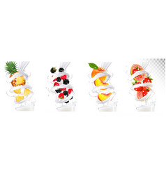 big collection of fruit in a milk splash vector image vector image