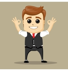 Business man smile and shows ok hand sign vector