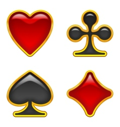 Card suits buttons set vector