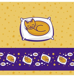 Card with cute little cat sleeping vector image