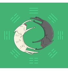 Cartoon yin yang icon vector