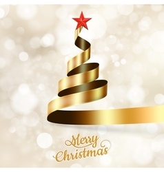 Christmas tree from gold ribbon and star eps 10 vector