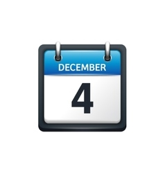 December 4 calendar icon flat vector
