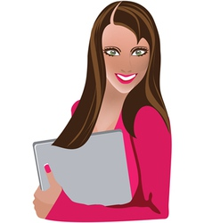 girl with a laptop vector image