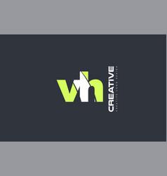 Green letter vh v h combination logo icon company vector