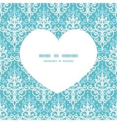 Light blue swirls damask heart silhouette pattern vector