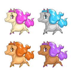 little cute cartoon pony icons vector image
