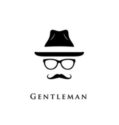mustache glasses and a hat vector image vector image