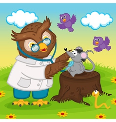 Owl doctor with stethoscope vector