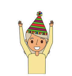 Portrait elderly grandma with party hat and arms vector