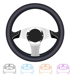 Realistic steering wheel and set of outline back vector image vector image