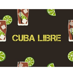Seamless pattern of cuba libre cocktail with lime vector