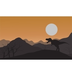 Silhouette of one tyrannosaurus in hills vector image vector image