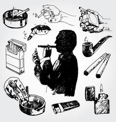 smoking set vector image vector image